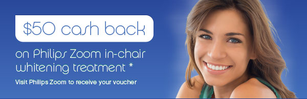 $50 cash back on Philips Zoom In Chair Teeth Whitening Treatment at Richmond Dentist Melbourne