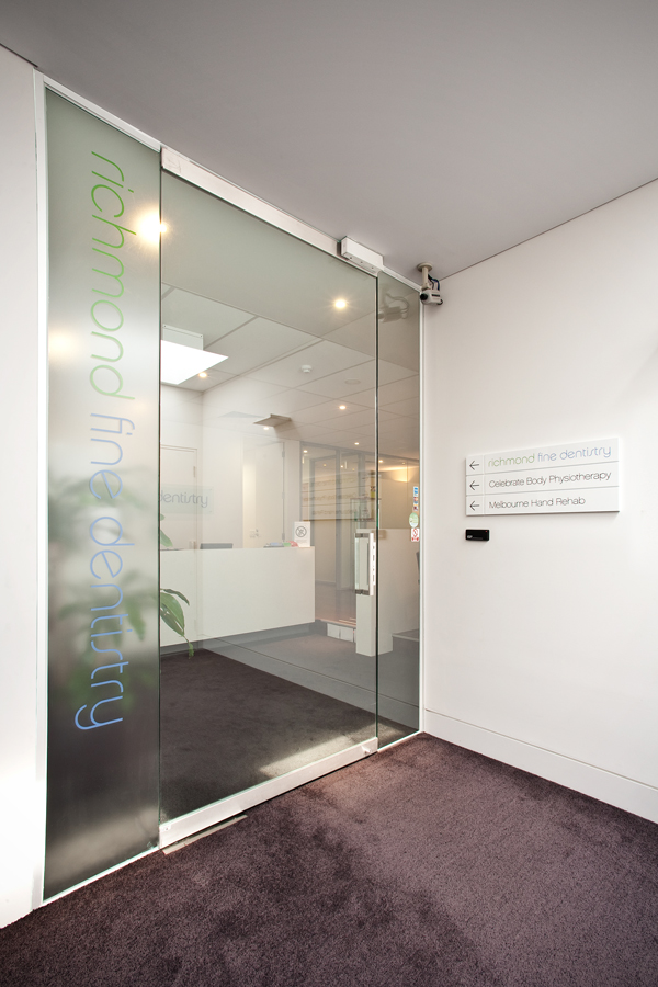 Dental practice entrance on Level 1 of Lennox Street for Richmond Fine Dentistry in Melbourne