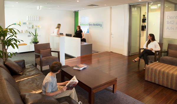 The waiting room at Richmond Fine Dentistry Melbourne